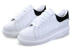 No Doubt White/Black Block Platform Lace Up Trainer