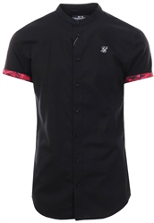 Siksilk Black S/S Grandad Collar Roll Sleeve Shirt