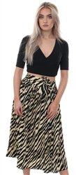 Miss Truth Black Animal Print Tie Belt Pleated Skirt