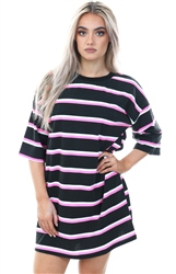 Lasula Black/Pink Multi Stripe Over-Sized T-Shirt