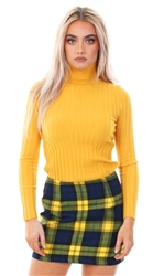 Miss Truth Navy/Yellow Checked Print Skirt