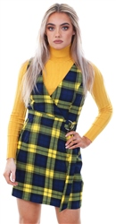 Miss Truth Navy/Yellow Checked Pinafore Buckle Belt Dress