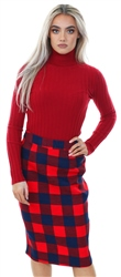 Miss Truth Navy/Red High Waist Checked Pencil Skirt