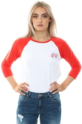 Jack Wills Red Henstridge Raglan 3/4 Length Sleeve T-Shirt