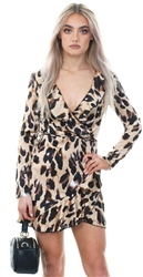 Parisian Leopard Silk Frill Wrap Over Dress