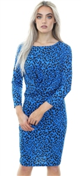 Pieces Victoria Blue Leopard Printed Dress