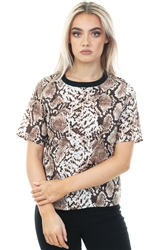 Cutie London Brown Snake Printed Short Sleeve Top