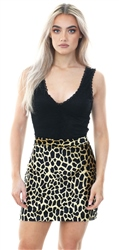 Qed Tan/Black Animal Print Fitted Mini Skirt