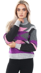 Noisy May Grey High Roll Neck Pull Over Sweater