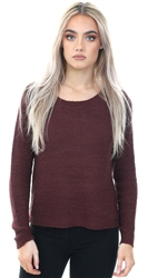 Only Burgandy Genna Port Royale Knitted Top
