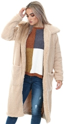 Brave Soul Caramel Heavenly Long Teddy Coat