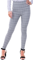 Parisian Grey Checked Print High Rise Skinny Trousers