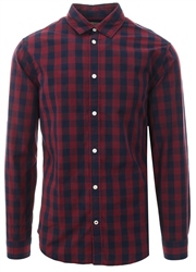 Jack & Jones Brick Red Check Gingham L/Sleeve Shirt