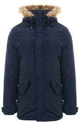Le Shark True Navy Pepeys Faux Fur Longline Jacket