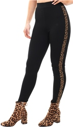 Parisian Black Side Tape Leopard Print Fitted Legging
