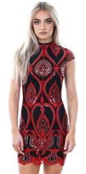 Parisian Red Embellished Bodycon Mini Dress