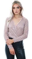 Girl In Mind Nude Clara Wrap Sequin Long Sleeve Bodysuit