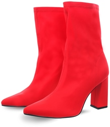Dv8 Red Lycra Bernie Over The Ankle Sock Boots