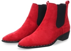 Krush Red Suede Stud Pointed Toe Ankle Boot