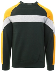Soulstar Green Crew Neck Panel Block Pull Over Sweater
