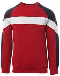 Soulstar Red Crew Neck Panel Block Pull Over Sweater