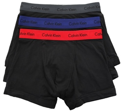 Calvin Klein Black 3 Pack Trunks - Cotton Stretch