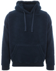 Brave Soul Navy Teddy Fleece Pull Over Hoodie