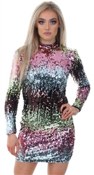 Qed Black High Neck Fitted Sequin Dress