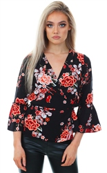 Only Black Peachy Flower Wrap Long Sleeve Top