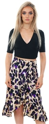 Missi Lond Brown / Purple Satin Leopard Print Frill Skirt