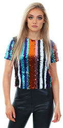 Missi Lond Rainbow Sequin Embellished Stripe Top