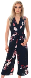 Ax Paris Navy Floral Culotte Jumpsuit With V Neck
