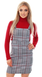 Missi Lond Multi Pinafore Checked Print Dress