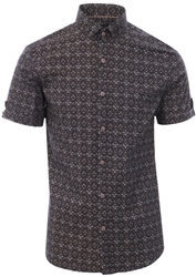 Alex & Turner Brown Paisley Print Short Sleeve Shirt