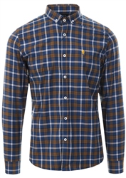Alex & Turner Navy Checked Print Button Down Shirt