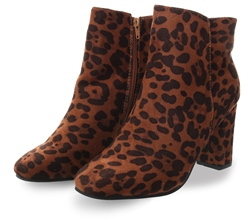 Krush Brown Leopard Print Slip On Ankle Boot