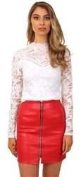 Influence Red A-Line Front Zip Up Pu Skirt