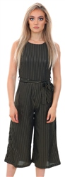 Mela Black Metallic Striped Culotte Jumpsuit
