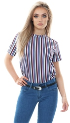 Daisy St Pink/Wine Short Sleeve Stripped T-Shirt