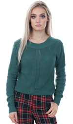 Noisy May Mallard Green Knitted V Back Pullover