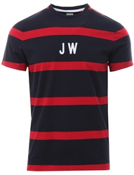 Jack Wills Navy Ezra Stripe Retro T-Shirt