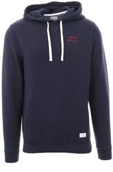 Jack Wills Navy/White Grasmere Pop Over Hoodie
