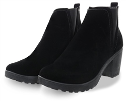 Krush Black Velvet Slip On Heeled Ankle Boot