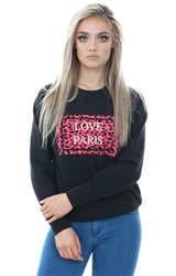 Daisy St Black Relaxed Sweater With Love Paris Print