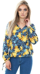Smoke Blue Mille Floral Print Top by Veromoda