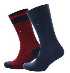 Hilfiger Denim Red/Navy 2-Pack Basket Knit Socks