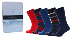 Hilfiger Denim Red/Navy 5-Pack Socks In A Tin