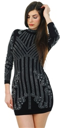 Parisian Black Long Sleeve Embellished Dress