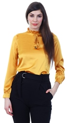 Fashion Union Mustard Frill High Neck