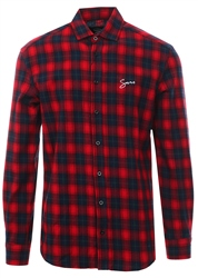 Sinners Attire Red/Black Script Flannel Shirt